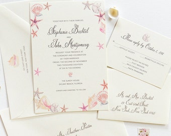 Beach Wedding Invitation, Destination Wedding Invitation, Beach Wedding Invitation Set, Seashells Wedding Invitation
