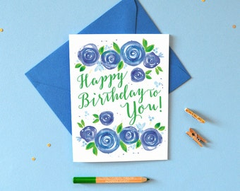 Happy Birthday Card For Mom Watercolor Birthday Card For Her Etsy