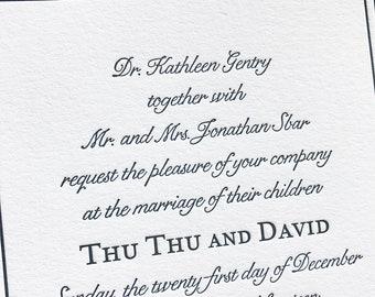 Miss Thomson Letterpress Wedding Invitation, Elegant Wedding Invitation Set, Letterpress Wedding Invites, Wedding Invitation Suite, Sample