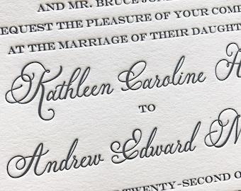 Miss Beauchamp Letterpress Wedding Invitation, Elegant Wedding Invitation Set, Letterpress Wedding Invites, Wedding Invitation Suite, Sample