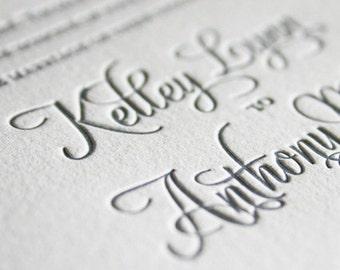 Miss Lockwood Letterpress Wedding Invitation, Elegant Wedding Invitation Set, Letterpress Wedding Invites, Wedding Invitation Suite, Sample
