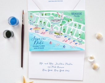 Save The Date Florida, Save The Date Card Wedding Seaside, Destination Wedding Save The Date, Beach Save The Dates, Seaside Florida