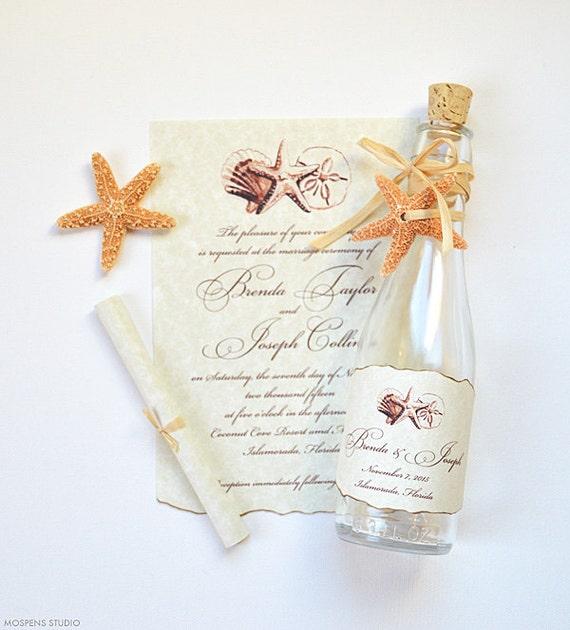 beach wedding invitations destination invitations bottle etsy