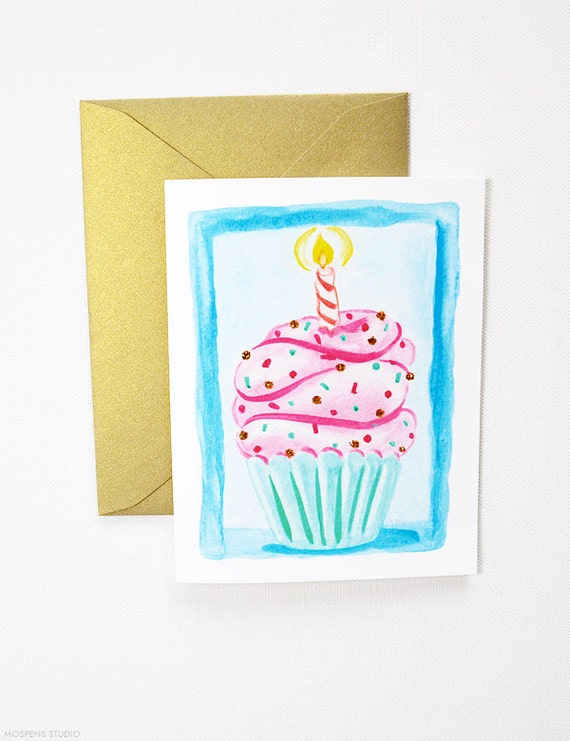 Hand Painted Birthday Cupcake Card Birthday Cards Happy Etsy