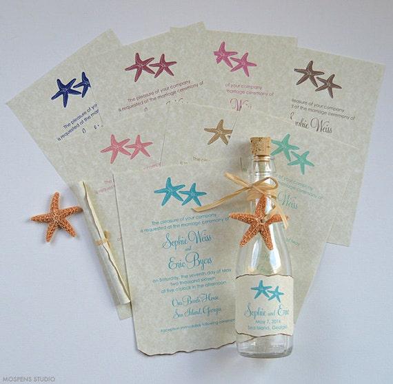 beach wedding invitations bottle invitations beach wedding etsy