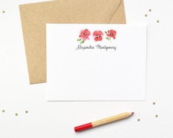 Personalized Note Cards | Floral Personalized Stationery | Red Poppy Flower Notes