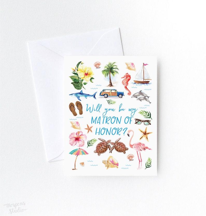 Will You Be My Bridesmaid Card Maid of Honor Floral Bridesmaid Card Bridesmaid Proposal Card Flower Girl Bridesman Bridal Party Gift