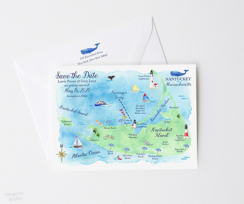 Save The Date Nantucket Save The Date Card Destination | Etsy  Zip Code Map on