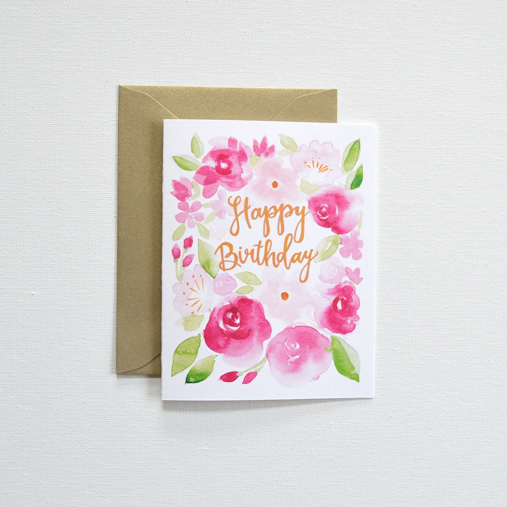 Floral Birthday Card Birthday Cards Happy Birthday Card Etsy
