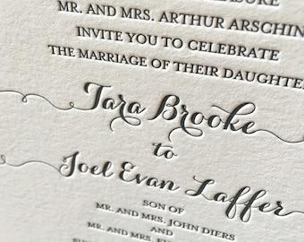Miss Keeton Letterpress Wedding Invitation, Elegant Wedding Invitation Set, Letterpress Wedding Invites, Wedding Invitation Suite, Sample