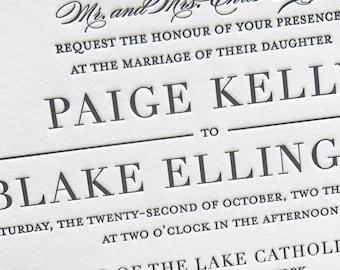 Miss Buchanan Letterpress Wedding Invitation, Elegant Wedding Invitation Set, Letterpress Invites, Wedding Invitation Suite, Sample
