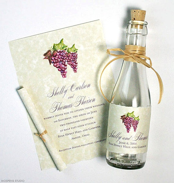 Vineyard Wedding Invitations Message In A Bottle Winery Etsy