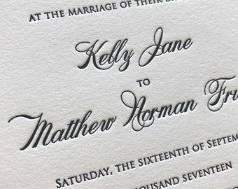 Miss Kavanagh Letterpress Wedding Invitation, Elegant Wedding Invitation Set, Letterpress Invites, Wedding Invitation Suite, Sample