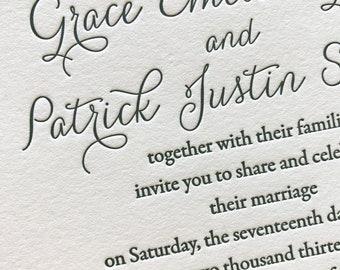 Miss Fitzpatrick Letterpress Wedding Invitation, Elegant Wedding Invitation Set, Letterpress Invites, Wedding Invitation Suite, Sample