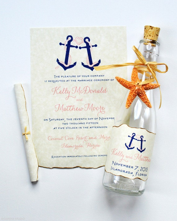 Message In A Bottle Wedding Invitations: Nautical Wedding Invitations Message In A Bottle Nautical