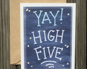 Congratulations Card - Greeting Card for Graduation - Illustrated Congrats Card - Chalkboard Yay High Five Card