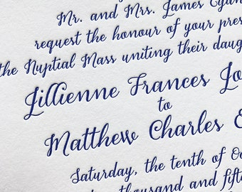 Miss Dempsey Letterpress Wedding Invitation, Elegant Wedding Invitation Set, Letterpress Wedding Invites, Wedding Invitation Suite, Sample