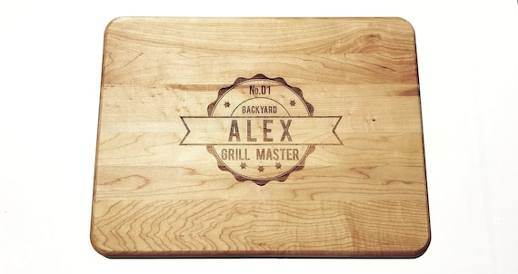 "Grill Master with Name Hardwood Cutting Board 12"" by 16"", Laser cut engraving on wood designed to your needs"