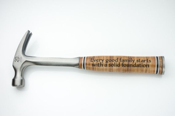 Engraved Hammer with Leather Grip - Personalized gift - Daddy's present Mans Cave