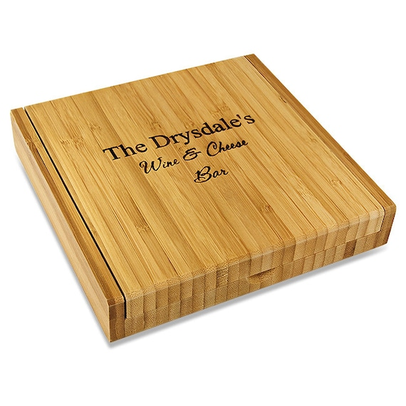 "SHIPS Fast. Personalized Bamboo Cheese Set With Tools. 8"" x 8"" Bamboo Cheese Set with 4 Tools"