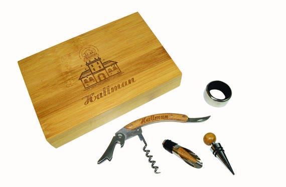 Bamboo 4-Piece Wine Tool Set. Personalized Wine Tool Set,Personalized Wedding Gift,Engraved Christmas Present,Groomsmen Gift-Wedding Gift-