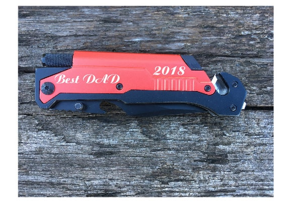 "1 knife.Personalized Engraved  8"" Tactical spring assisted opening folding knife with Led Light and Fire Starter, Gift"