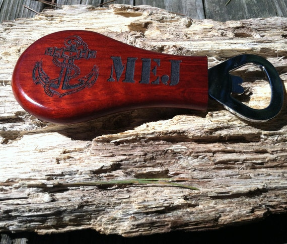 Personalized Magnetic Pear Shaped Bottle Opener, Wedding Favor, Barware Gift. Rosewood Pear-Shaped Bottle Opener with Magnet