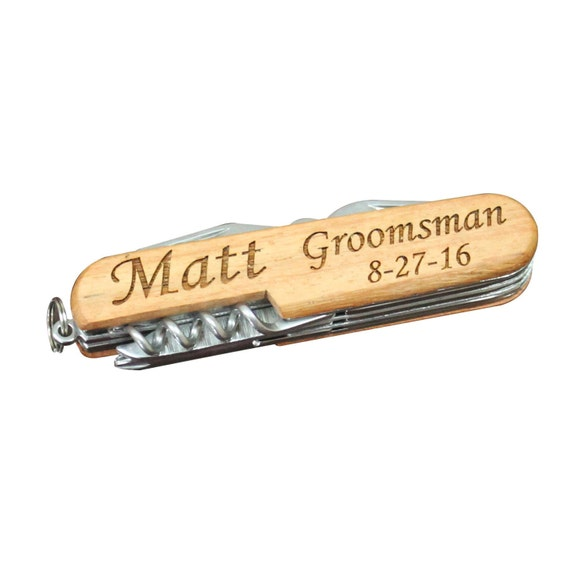 Knife - Laser Engraved 3 1/2 inch Wood Handle Pocket Knives - Great for Groomsmen, Usher's, Father's, Hunting Knife,