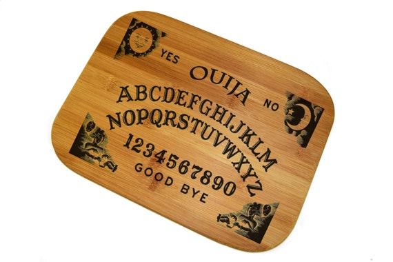 "Ouija Board Game, Cutting Bamboo Board 12""x 15"", Custom Laser engraved. The best gift for any occasion!"