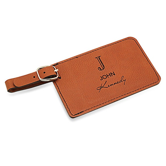 Rawhide Personalized luggage tag - Contact information tag with personal information - Famous quotes - Leather tag with leather strap