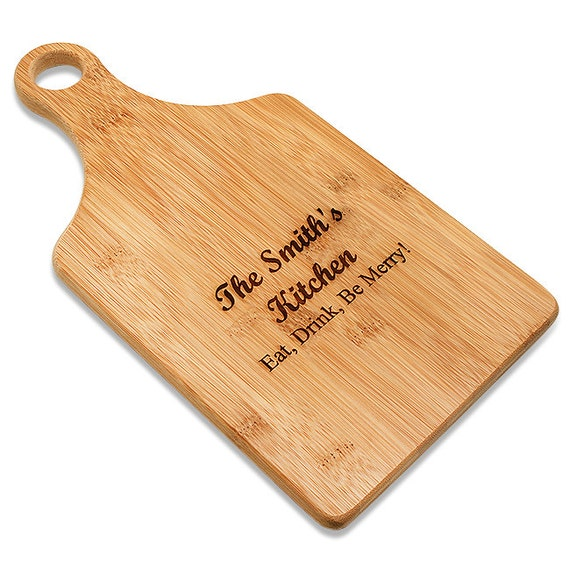 SHIPS FAST. Personalized Engraved Monogram Bamboo Paddle Shape Cutting Board.Wedding Gift Cutting Board.