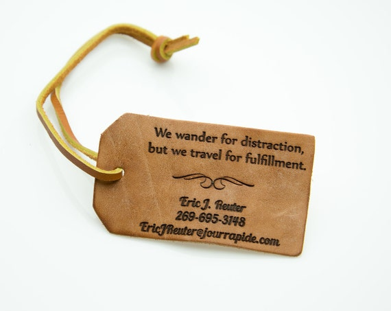 Tanned Leather Personalized luggage tag - Contact information tag with personal information - Famous quotes - Leather tag with leather strap