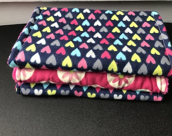Flower &hearts brightly colored burp cloth