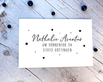 Address stamp - Nathalie Aventur stamp with name in calligraphy and address I points I personalized stamp