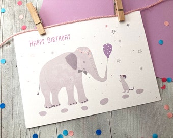 """Birthday Card - """"Elephant and Mouse"""""""