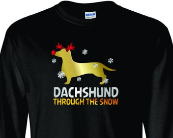 Arkansas made Dachshund Through The Snow Doxie with Snowflakes Unisex Short Sleeve Christmas Shirt