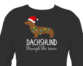 Arkansas made Dachshund Through The Snow Doxie with Snowflakes Unisex Short Sleeve Christmas Shirt