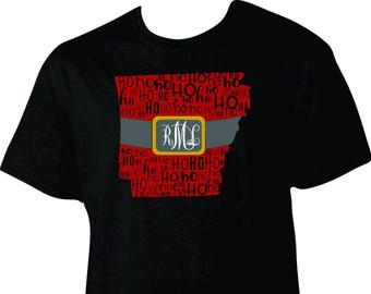 Arkansas HO HO HO Santa Belt Buckle Monogram Christmas short sleeve shirt, Santa shirt, adult shirt, Christmas shirt, adult Christmas, to 5x