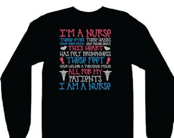 I'm a nurse shirt, registered nurse shirt, nurse long sleeve, RN shirt, LPN shirt, long sleeve shirt, long sleeve, nurse shirts long sleeve