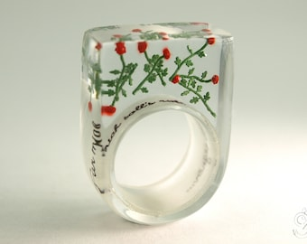 Red roses rain – romantic flower ring with red mini-roses made of resin for lovers