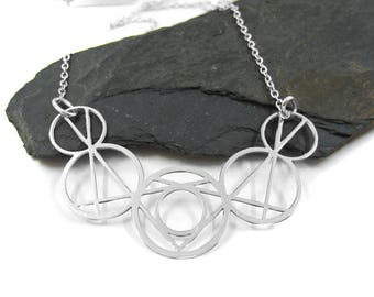 Geometric Necklace, Bohemian Jewelry, Circles Necklace, Silver Geometric Necklace, Modern Necklace, Statement Pendant Necklace, Edgy Jewelry