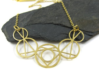 Circles Necklace, Geometric Necklace, Bohemian Jewelry, Gold Geometric Necklace, Modern Necklace, Statement Pendant Necklace, Edgy Jewelry