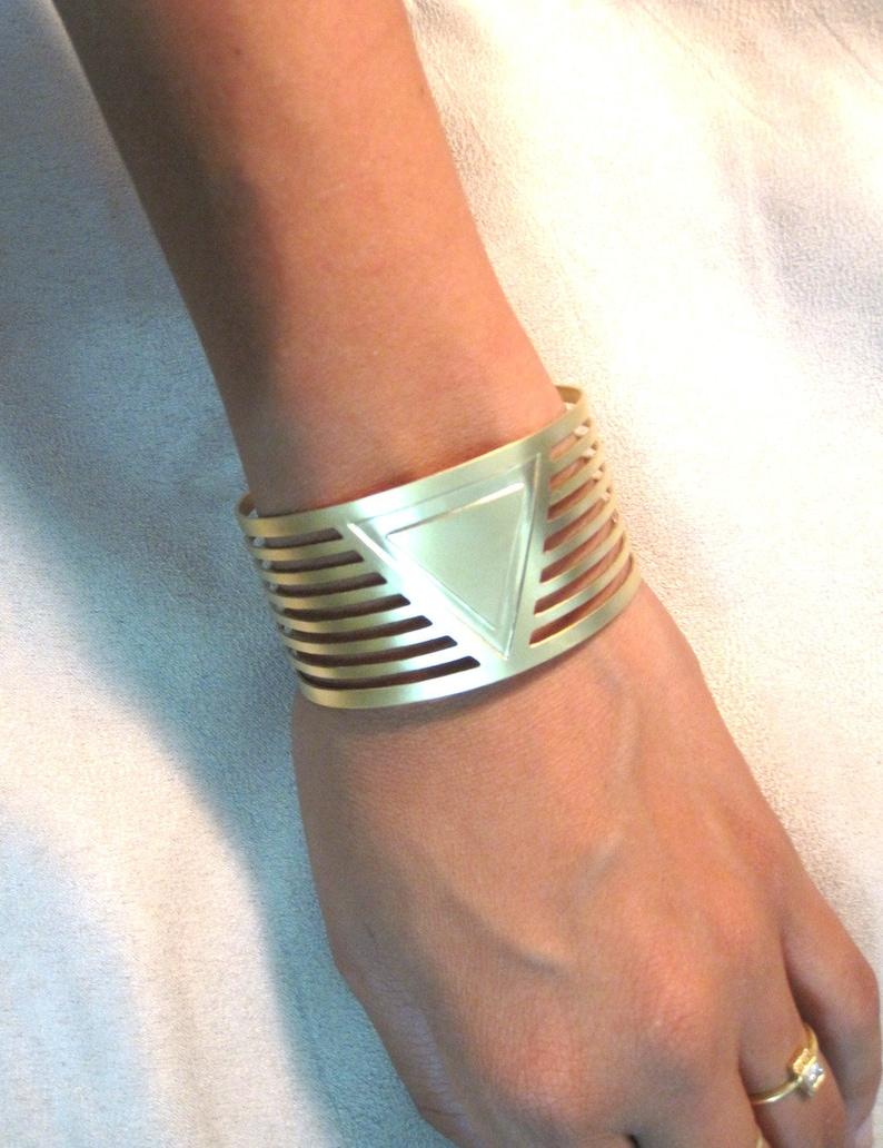 Open Bracelet Everyday Bracelet Triangle Jewelry Unique Bracelet Unique Gift Edgy Jewelry Geometric Bracelet Cuff Bracelet Wide Cuff