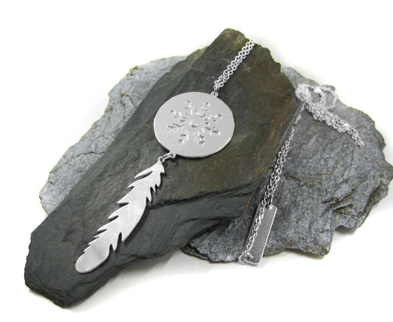 Silver Tribal Necklace Feather Necklace Unique Pendant image 0