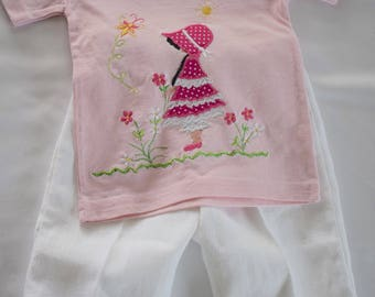 Free motion stitching embroidery  _ Baby girl