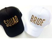 Bride and squad gold bachelorette party trucker hats, bridal party gifts