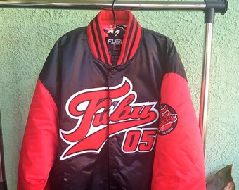 Material de Fubu chaqueta vintage 90s rara de gran tamaño abrigo talla XL