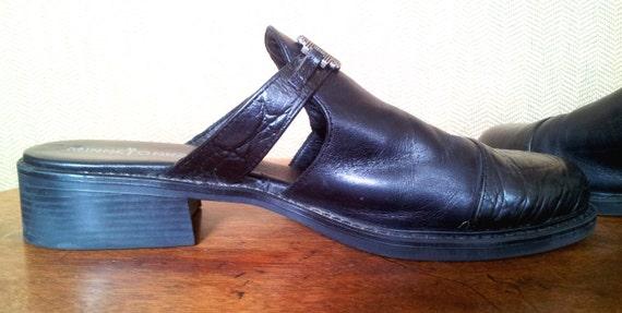 90s Black Leather Mules Minnetonka Size 7 - image 3