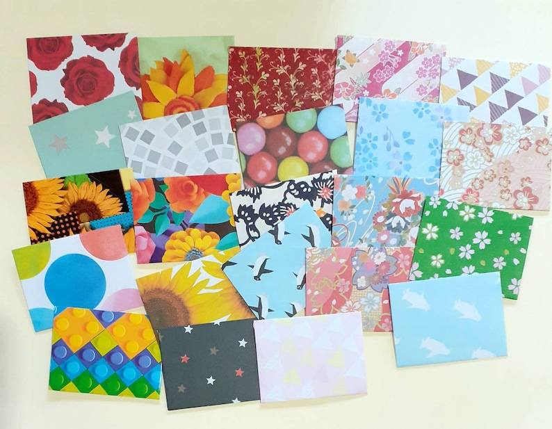 tooth fairy bright beautiful mini envelopes 1-12 x 2 mixed prints patterns junk journaling 50 Small Envelopes wedding favor lunchbox