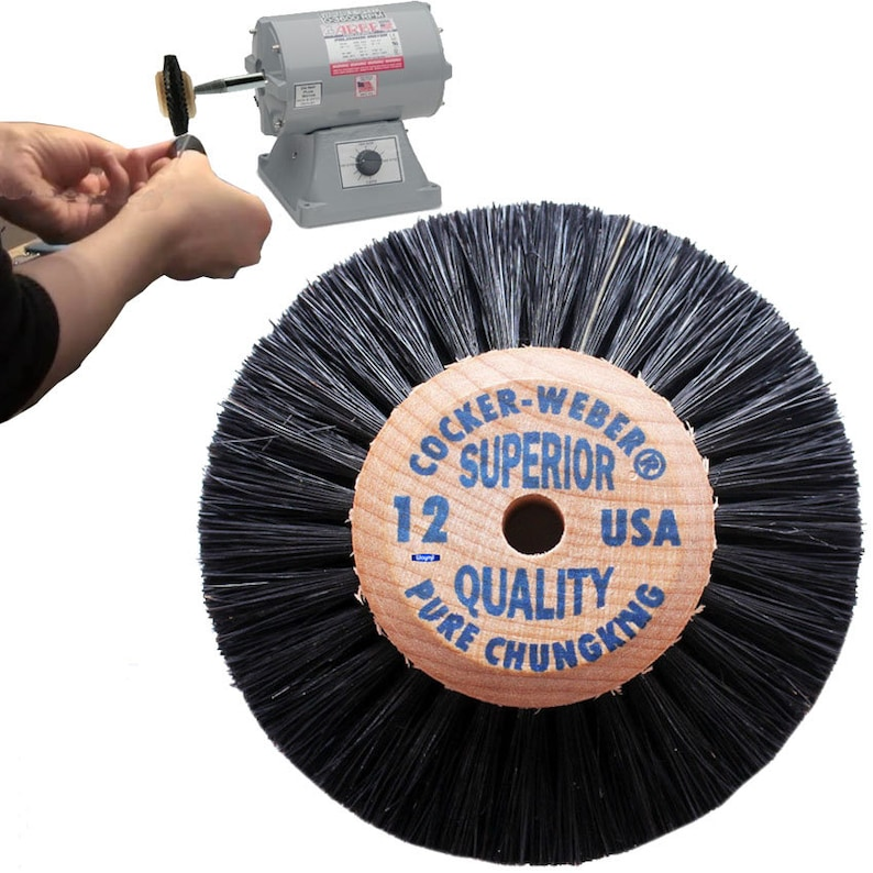 3 Jewelry Dental Cleaning Wood Hub Rotary Wheel Bristle Brush # 12 Deburring,Polishing /& Finishing